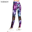 NORMOV S-3XL Plus Size Printed Leggings Women Activewear Workout High Waist Mesh Legging Summer Super Soft Legins