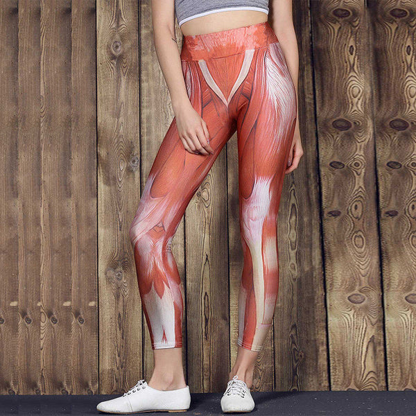 NORMOV Sexy Push Up Leggings Women Gothic Muscle Printed Legging Femme Sexy High Waist Workout Digital Print Trousers Female
