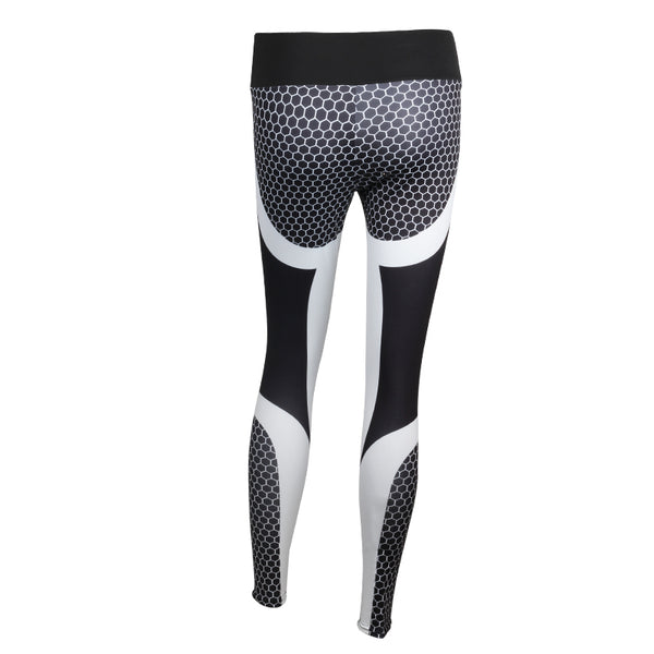 NORMOV Women Printed Fitness Leggings Sporting Workout Legging Honeycomb Digital Activewear Leggings Polyester Leggins S-XL
