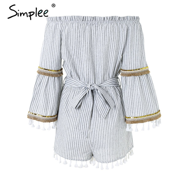 National boho stripe tassel jumpsuit romper Women sexy off shoulder overalls Summer beach