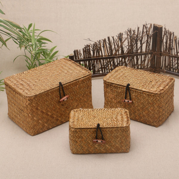 Natural handmade rattan storage box with lid for clothes and toys weave sundries organizer made
