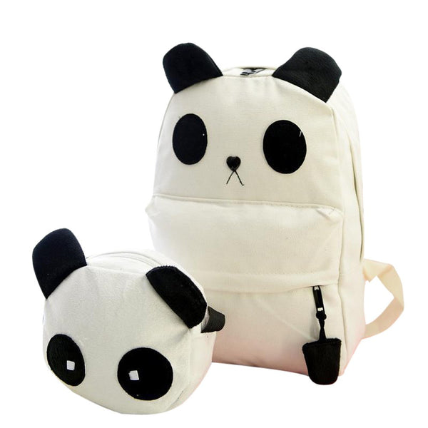 Neutral Backpack 2 pcs Panda Shape Canvas Bag Shoulder Bags+Clutch Crossbody Bag Girls Lovely