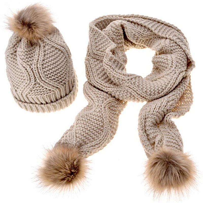 7ffd5389a64 New 2017 Women Hat And Scarf Set Knitted Hats Fashion Ladies Warm Hats  Casual Caps Women Winter Scarf Set Women Pom Poms hat