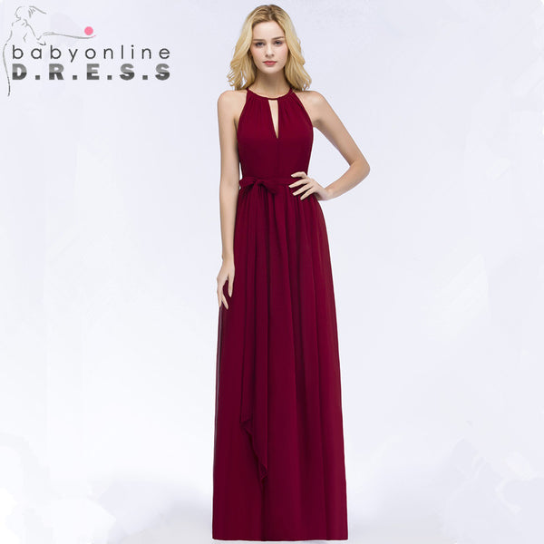 New Arrival Burgundy Chiffon Long Evening Dress 2018 Sexy Halter Neck Evening Gowns with Sashes