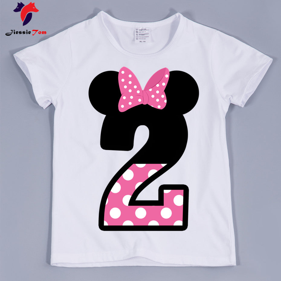 New ArrivalGirl Happy Birthday Letter Bow Cute Print T Shirts Kid Summer Tee Children Number 1 9 Funny Present Beal