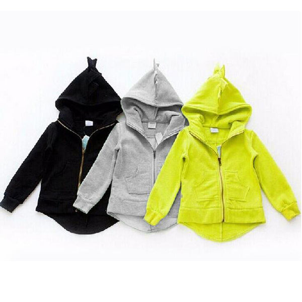 New Autumn Winter Cute Kids Dinosaur Hoodies Children's Girls Boys Hooded Sweatshirts Clothes