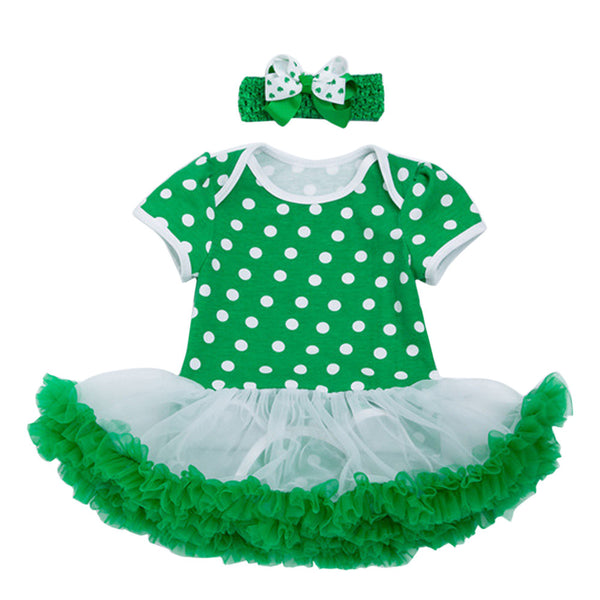 New Born Baby Girls Infant Dress&clothes Summer Toddler Baby Girls St. Patrick's Day Headband+Dress Party Dress Princess Dress