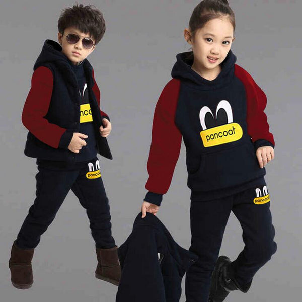 New Boy Girls Winter Set Children's Clothing Child Sports Thick Fleece Hoodies+Pants+Vest