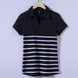 New Brand Polos Women Striped POLO Shirts 100% Cotton Short Sleeve Camisas Polo Casual Stand Collar Ladies Polo Shirt 4XL