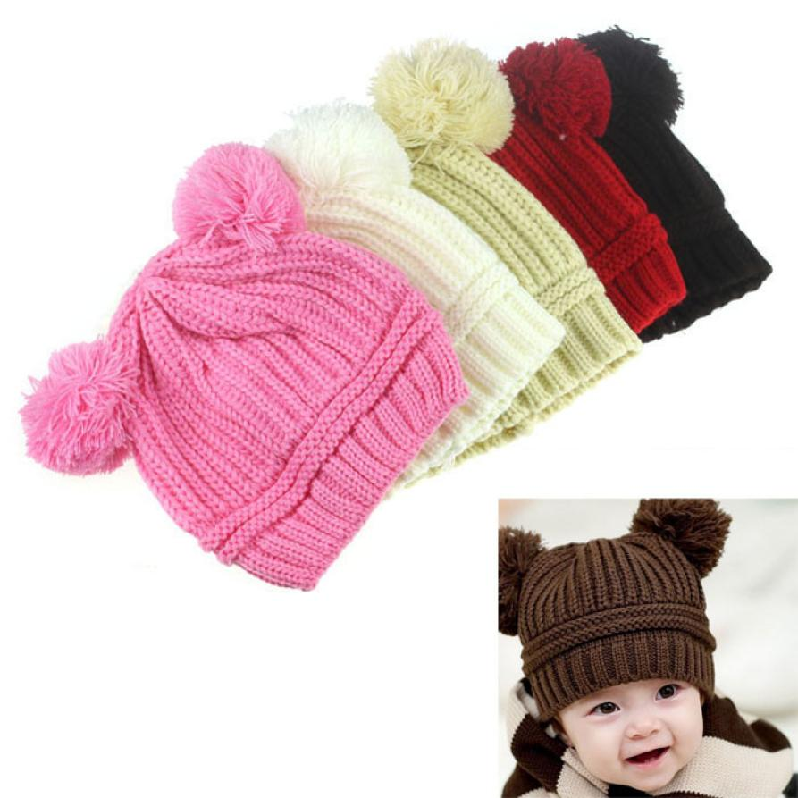 05ba7688fb094 New Fashion Baby Girls Boys Beanie Hats Kids Children Ball Knit Sweater Cap  Hats Winter Warm Knitted hats 6-18 mont 17Dec4 – Beal
