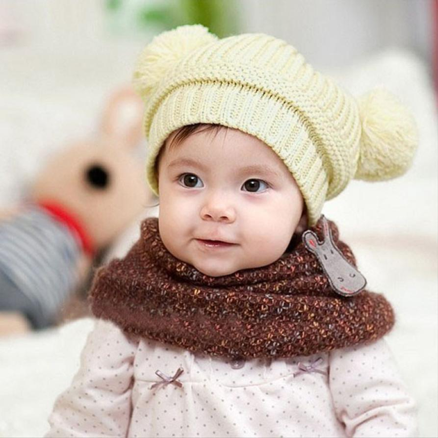 a792bee2156 New Fashion Baby Girls Boys Beanie Hats Kids Children Ball Knit Sweater Cap  Hats Winter Warm Knitted hats 6-18 mont