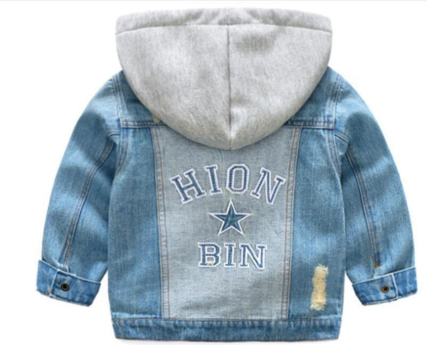 New Fashion Boys Girls Hole Denim Jackets Kids Clothing Spring Autumn Children Outwear Coat Kids  Warm Coats Hooded