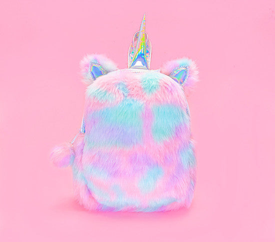 New Fashion Cute Plush Horse Rabbit Shaped Cartoon Kawaii Bagpacks Leather Hologram Women Girls