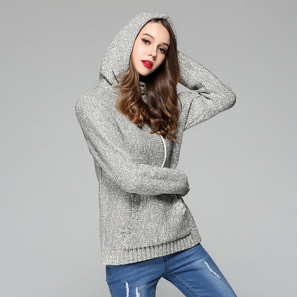 New Fashion Hoodie Winter Autumn Sweatshirt Women Pockets Knitted Hoodies Loose Casual Turtleneck Hoody Roupas Femininas 2017