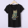 New Fashion Vintage T shirt Women Summer Tops Beading Diamond Sequins Owl Print T shirt Women Cotton Black Tops White Plus Size