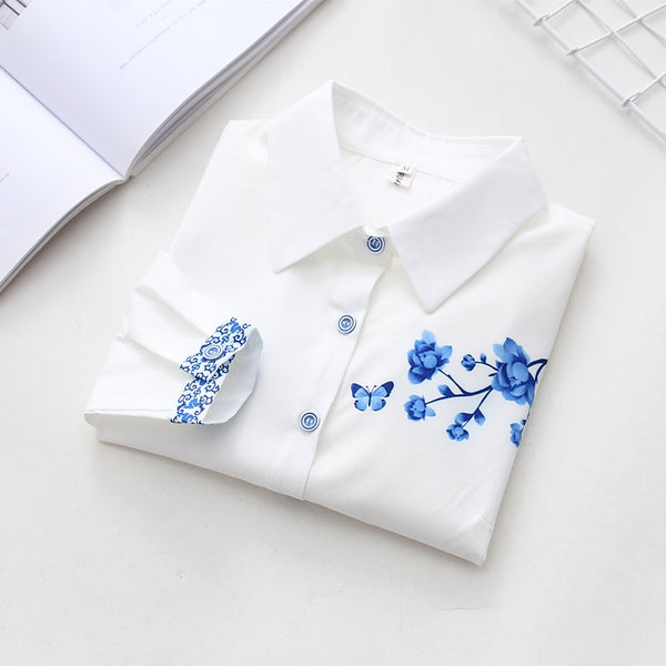 New Floral Long Sleeve Vintage Blouse All Cotton Turn Down Collar Shirt Blusas Feminino Ladies Blouses Summer Tops Chinese style