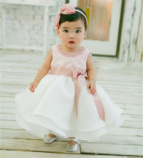 New Infant Baby Girl Wedding Dress Baptism Christening Gown Pageant Dress With Pearls Toddler Girls Princess Dress For 0-2 Years