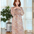 New Nursing Maternity Dress Retro Collar Long Sleeved Floral Printing Chiffon Dress Breastfeeding Dress Pregnant Women Clothes