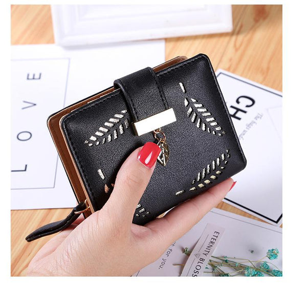 New Pu Short Women Wallets Fashion Hollow Out Zipper Mini Women's Purse pink card wallet Female