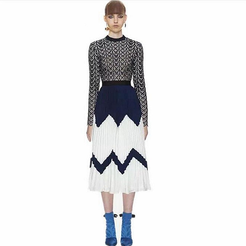 e23c55878312 New Self Portrait Dress 2018 Runway Spring autumn Green Patchwork White  Hollow Out Lace Stand Collar Pleated Party Women Dress – Beal | Daily Deals  For Moms