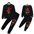 New Spring Style Family Matching Outfits Mother And Daughter Long Sleeve Rose Floral Sweatshirt+Pants 2Pcs Suit Family Look