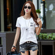 New Style Print Rabbit t shirt Summer Women Top Short Sleeve Cotton Pockets Tshirt Casual White Tops Tee Shirt Femme