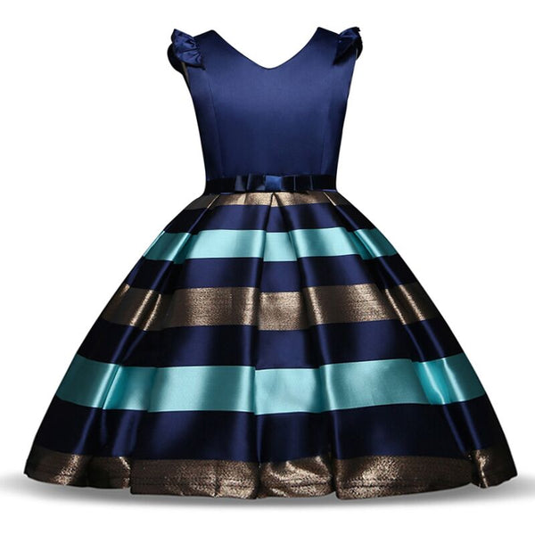 New Style Summer Baby Clothes Gold Striped Girl Dress for Wedding Girls Party Costume With Bow Kids