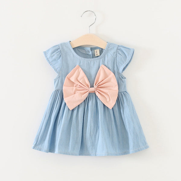 New Summer Baby Girls Dresses Newborn Denim Fancy Clothes With Big Bow-knot 2018 Fashion Cute Princess Toddler Girls Clothing