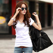 New Summer Fashion Slim Short Sleeve T Shirt Women Pockets Diamonds Tshirt Female Sexy V Neck Cotton Tops Tee 2017