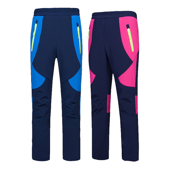 New Winter Children Outdoor Softshell Fleece Boys Girls Pants Casual Waterproof Teens Pants