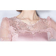 New autumn fashion women sexy o neck long sleeve tops ladies mesh silk lace shirts patchwork elegant top casual slim blouse A948