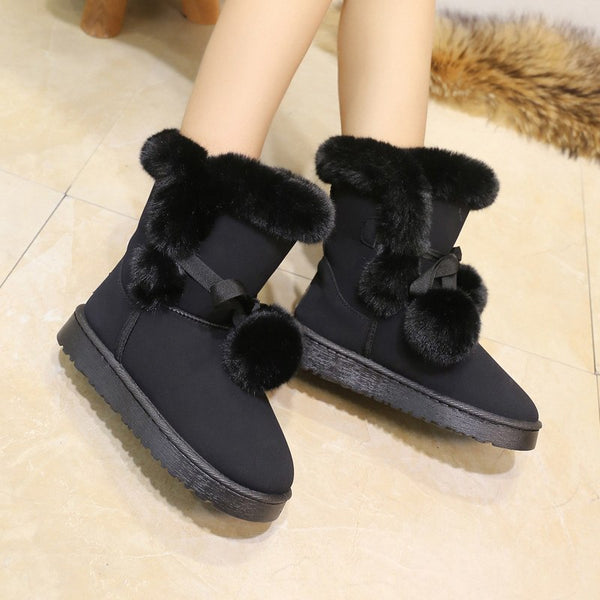 New comfortable plush warm women snow boots solid color slip-on ladies shoes women boots tound toe