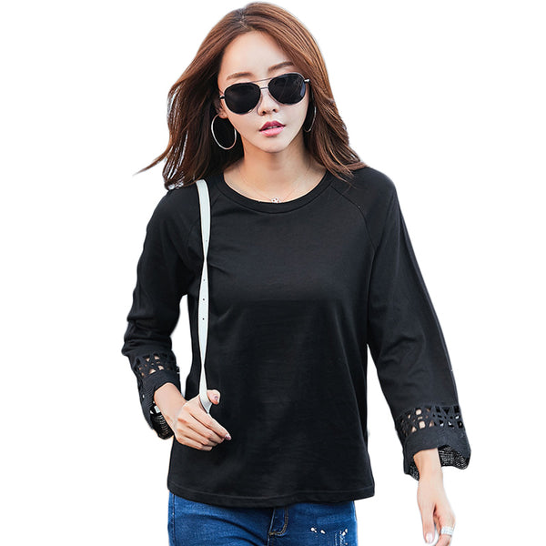 New style o neck casual women t-shirt 2017 women Autumn long sleeve solid tops Female lace patchwork t shirt cotton tee tops cs8