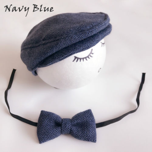 6e61030a Newborn Baby Peaked Beanie Cap Hat + Bow Tie Photo Photography Prop Outfit  Set Little Gentle
