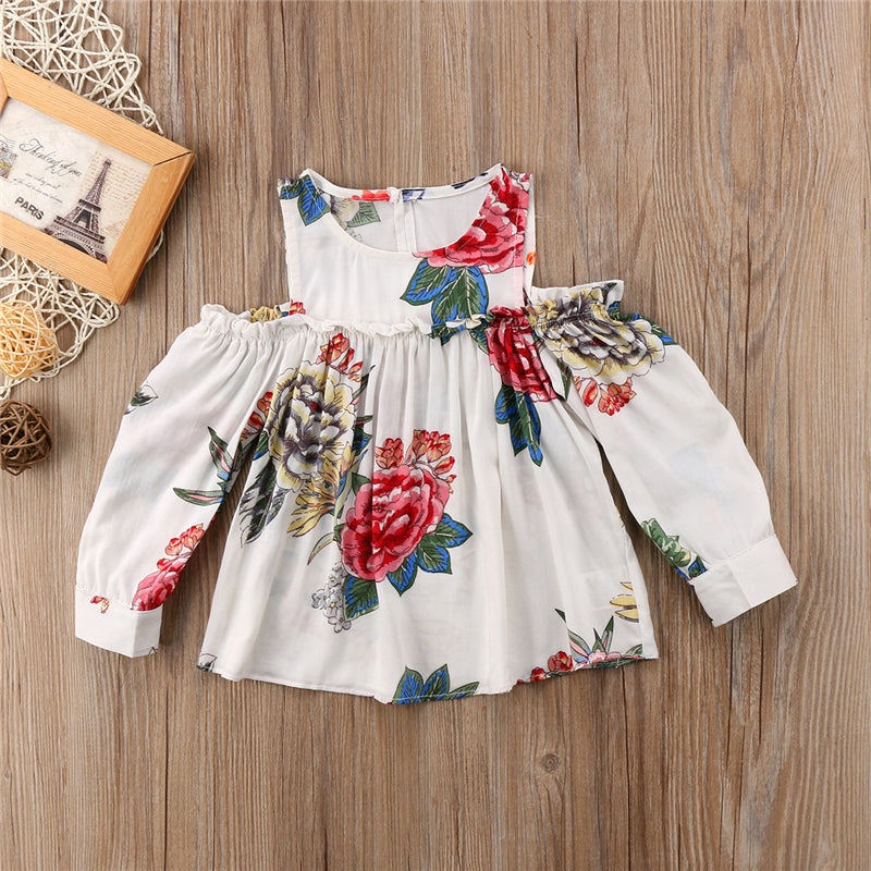 1f5f027f5168 Newborn Floral Tops 2018 New Infant Baby Girl Flower Off Shoulder Long  Sleeve T-shirt Tops Princess Party Clothes Cotton Tops – Beal