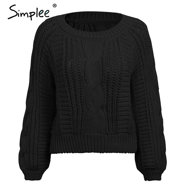 O neck knitted sweater and pullovers Women long sleeve casual solid crop sweater Autumn