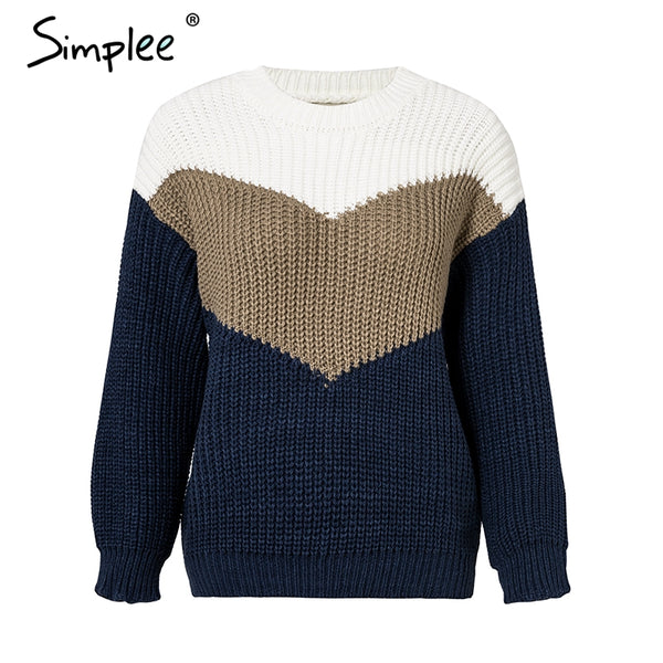 O neck knitted sweater pullover Long sleeve contrast color sweater Autumn winter loose