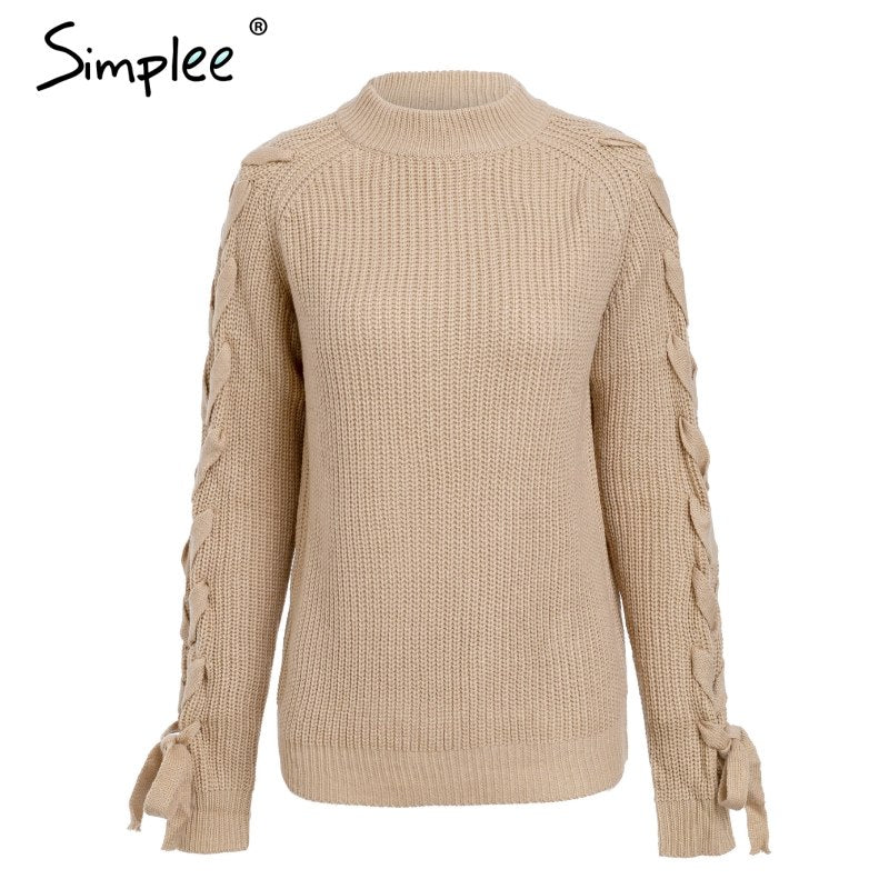 a6c66c13b37ad5 O neck knitted thick pullover sweater Casual lace up sleeve sweater 2018  Autumn winter warm outerwear pullover top women – Beal | Daily Deals For  Moms