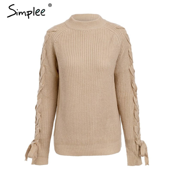 O neck knitted thick pullover sweater Casual lace up sleeve sweater 2018 Autumn winter warm