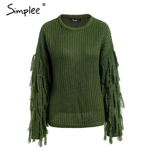 O neck tassel pullover sweater Casual army green long sleeve sweater 2018 Autumn winter