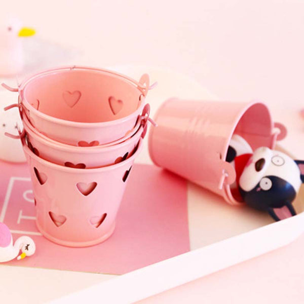 Office Supplies MINI Pencil Pen Pot Holder Stationery Container Heart Hollowed Out Iron Pink