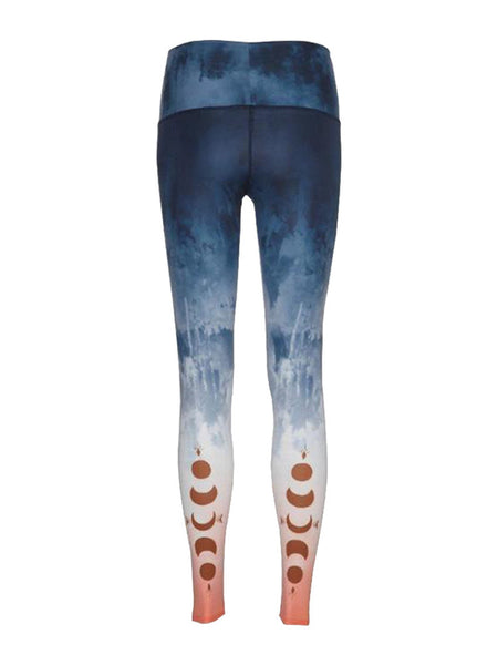One F Women's Comfy Yoga Pants With Ombre Moon Printed Female Dry-Fit Workout Sport Leggings