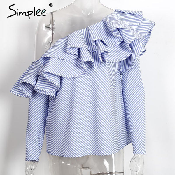 One shoulder ruffles blouse shirt women tops 2016 autumn Casual blue striped shirt Long