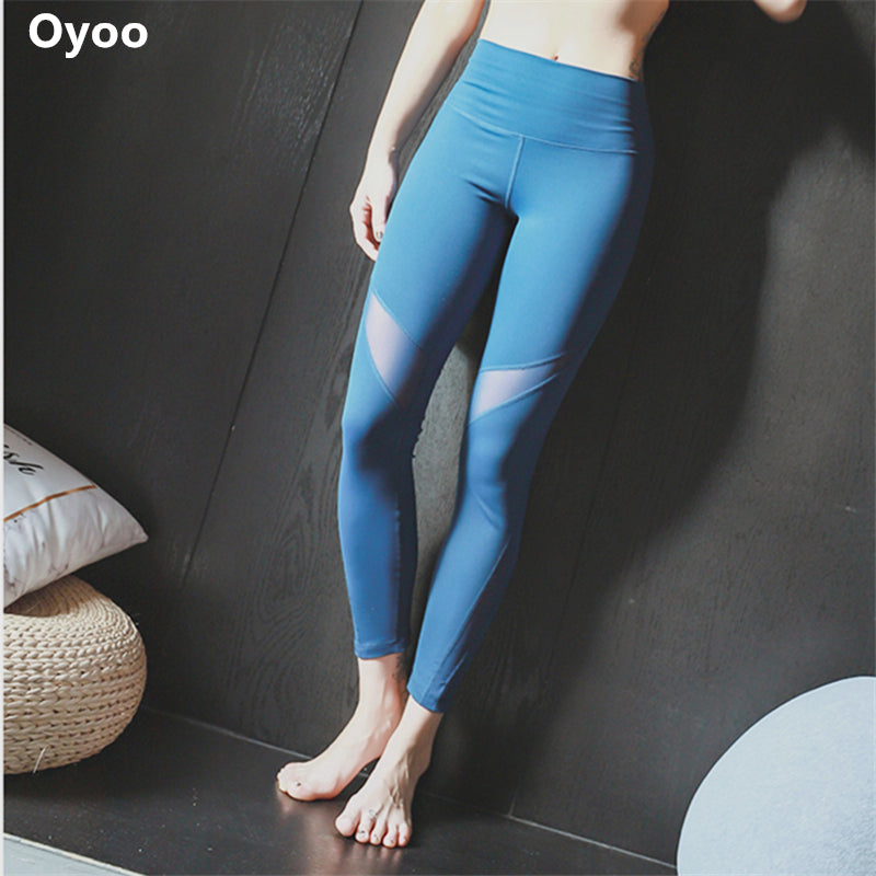 5e55adc46d7c1c Oyoo Prussian blue mesh yoga leggings thick high waist squats sports  legging women sexy workout jogging yoga pants – Beal | Daily Deals For Moms