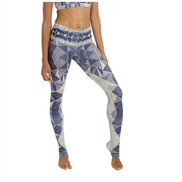 Oyoo Women Yoga Pants Geometric Printed Sport leggings Stretch Workout Running Tight Leggins Sport