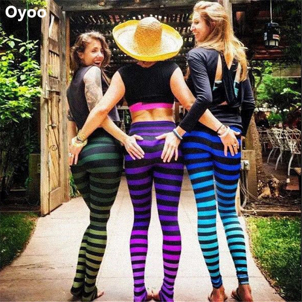 Oyoo Women's Colorful Stripes Leggings Ombre High Waist Yoga Pants Colorful Gym Fitness Tights