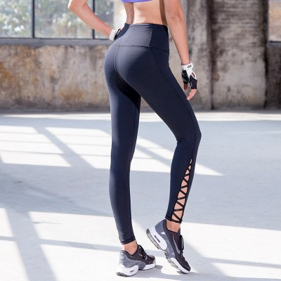 f0911a7976f111 Oyoo navy strappy cutout yoga pants compression thick elastic gym ...