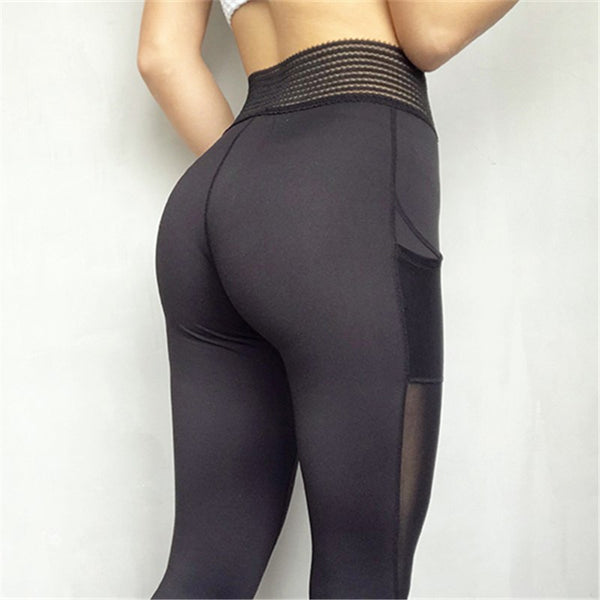 Oyoo unique high waist sport leggings with side pocket white mesh yoga pants solid training pants