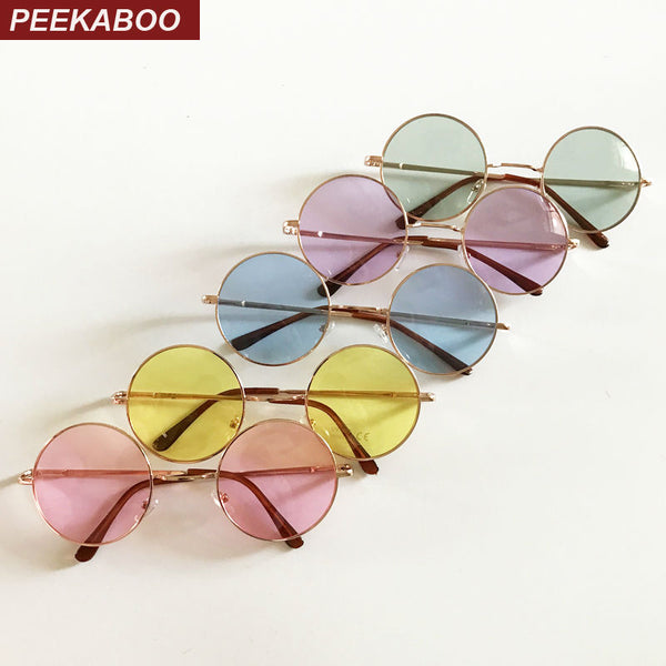 Peekaboo vintage round sunglasses women male cheap sun glasses round men yellow blue green uv400 metal