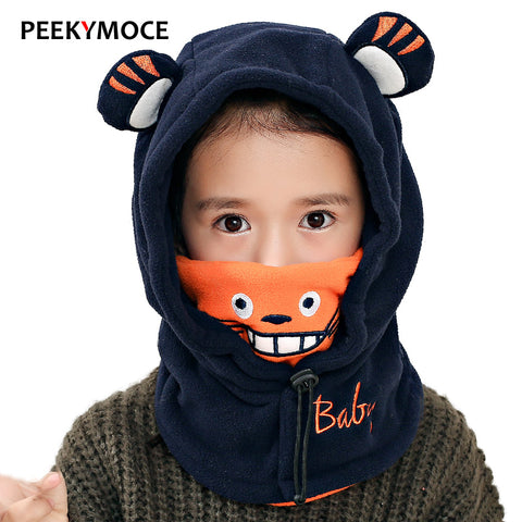 Peekymoce balaclava for children Skullies Beanies for boy girls full face mask winter hat